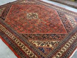 decoration persian handmade wool mahal bidjar red black blue ivory gold geometric rug rugs