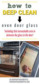 how to clean inside the oven door glass