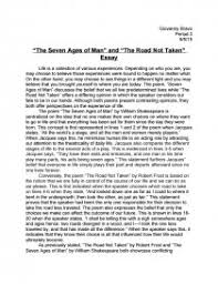 the seven ages of man and the road not taken essay essay zoom zoom