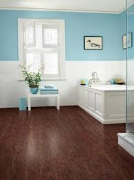 ... Astounding Laminate Floor In Bathroom Laminate Flooring For Bathroom Use  And Blue Painted Wall ...