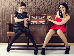 pin up quarreling for a cosmetic bag full of makeup stock photo image