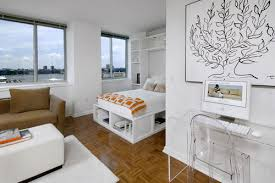 contemporary studio apartment design. White Studio Ideas : Apartment With Modern Workplace . Contemporary Design