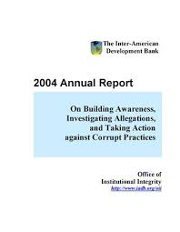 Office Of Institutional Integrity Annual Report 2004 By Idb