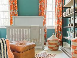 blue and orange nursery features walls painted blue sherwin williams riverway lined with a light gray crib bassett chesapeake full panel crib