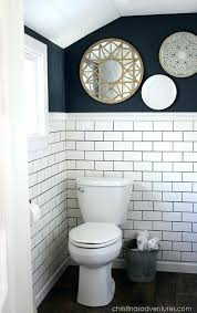 Beautiful subway tile bathroom remodel renovation Bathroom Designs Small Bathroom Remodel Small Bathroom Makeover With Hale Navy Paint And White Subway Tile Small Bathroom Oil Journey Small Bathroom Remodel Tiny Bathroom Remodels Wonderful Small