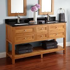 Bamboo Bathroom Cabinets 60 Thayer Bamboo Double Vanity For Rectangular Undermount Sinks
