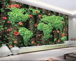 Beibehang 3d Behang Foto Grafieken Bomen Rozen Wijnstokken Groene