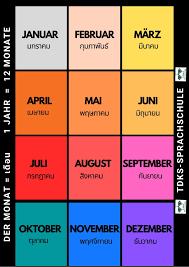 1 ปี มีทั้งหมด 12 เดือน Ein Jahr hat zwölf Monate. . Januar (มกราคม)  Februar (กุมภาพันธ์) März (มีนาคม) April (เมษายน) Mai (พฤษภาคม) Juni  (มิถุนายน) Juli (กรกฎาคม) August (สิงหาคม) September (กันยายน) Oktober  (ตุลาคม) November (