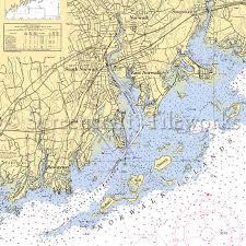 Connecticut Norwalk South Norwalk East Norwalk Nautical Chart Decor