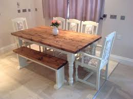 shabby chic dining sets. Shabby Chic Rustic Farmhouse Solid 8 Seater Dining Table Bench And 6 Oak Chairs Sets I