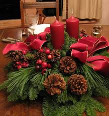Remarkable Red Tapes And Green Leafs And Two Red Candles At Natural Rustic  Wooden Dining Tables For Christmas Table Arrangements Inspiring Ideas