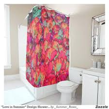 various red cherry blossom shower curtain red black and white