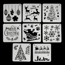 Christmas Stencil Designs Christmas Stencils Set Plastic Decorating Tool For