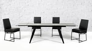 Barium Contemporary Black Glass Extendable Dining Table