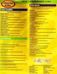 Smoothie King Nutrition Chart Pin On Smoothiezz
