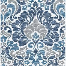 Garden of Eden Blue Damask Wallpaper ...