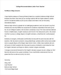 College Recommendation Sample Free 7 Sample Teacher Recommendation Letters In Pdf Doc