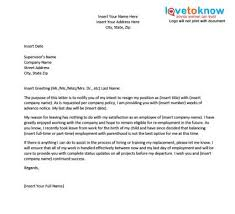 Sample Resignation Letter Due To Pregnancy Complications Under