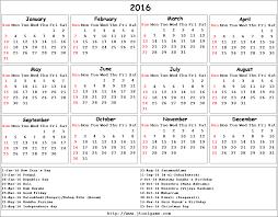 2016 Calendar Printable Calendar 2016 Calendar In