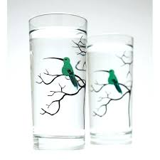 hummingbird glassware set of 2 everyday drinking glasses sets
