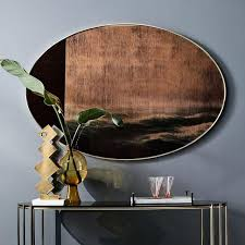 scenery large oval wall mirror
