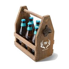 wooden beer caddy with attached bottle opener