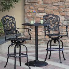 3 piece patio bar set. Beautiful Set Darlee Florence 3 Piece Cast Aluminum Patio Bar Set With Swivel Stools   Antique Bronze On L