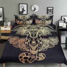 3 pcs tribal elephant bedding sets boho mandala golden design ethnic indian ganesha duvet cover indian symbol bed set