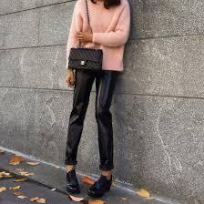 pants black pants black leather pants leather pants vinyl sweater pink sweater bag black bag