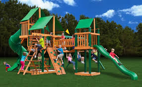 Amazon.com: Gorillaplay Sets Home Backyard Playground Treasure Trove Swing  Set with Timber Shield and Deluxe Green Vinyl Canopy: Toys & Games