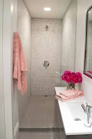 Pink and Gray Small Bathroom Design
