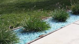 using glass landscape rocks