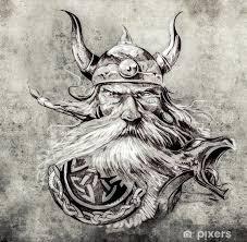 Nálepka Tetování Náčrtek Viking Bojovník Ilustrace Ancie Pixerstick