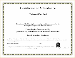 11 Certificate Of Attendance Template Word Free Catering Resume