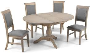 georgina limewashed solid oak round extending dining set with 4 upholstered chairs 110cm 150cm