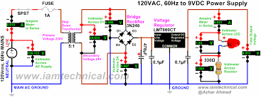 18v dc power supply circuit diagram diagram 120vac to 9vdc regulated power supply using lm7809ct bridge