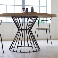Wood And Metal Round Dining Table Custom Reclaimed Wood And Metal Dining Table The Coastal Craftsman
