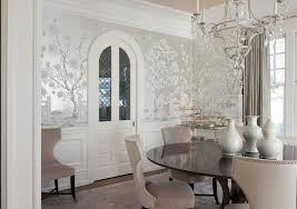 Wainscoting dining room Dark Blue French Crystal Chandelier Elegantly Creates Statement Over Round Dark Glossy Wood Dining Table With Taupe Velvet Dining Chairs In Dining Room Fitted Pierwszyinfo Dining Room Wainscoting Design Ideas