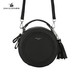 davidjones women handbag pu leather female cross bag small lady tassel shoulder bag girl casual round