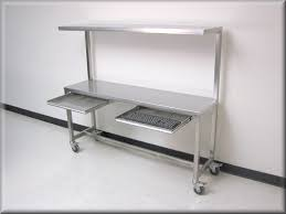 stainless steel table with upper shelf stainless steel work bench