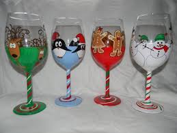 holiday hand painted wine gl set of four