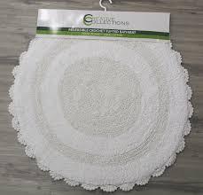 reversible 100 cotton crochet round bath mat white 70x70cm rugs more
