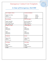 emergency contact template emergency contact list template microsoft office pinterest