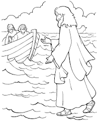 Jesus Walking On Water Color Page Sunday School Color Pages