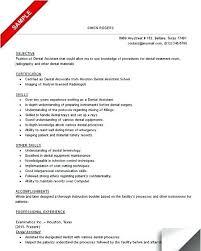 Dental Assistant Objective For Resume Sample Of Dental Assistant Resume 87