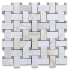 marble basketweave tile. Calacatta Gold 1x2 Basketweave Mosaic Tile W/ Gray Dots Polished Marble R