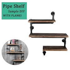 details about industrial wood and metal pipe shelf 3 tier pipe bookshelf diy storage floating