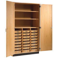 tall storage cabinet with shelves trays solid doors