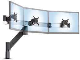 this heavy duty monitor arm for vesa monitors and touchscreens has desk wall and other mount options it enables optimal positioning of three monitors