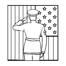 Small Picture Officer Giving Salute to US Flag on Flag Day Coloring Page